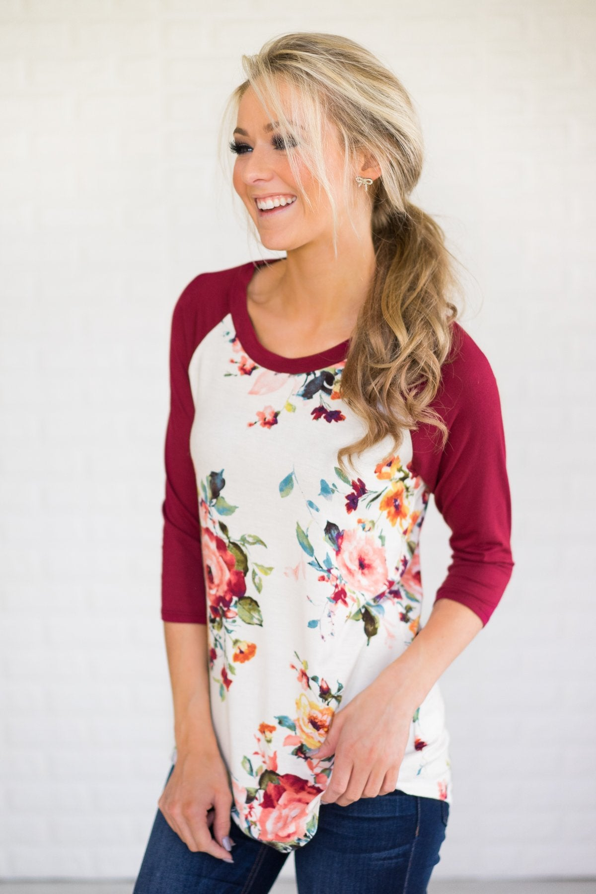 Dreams of You Floral Baseball Top - Burgundy