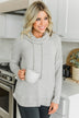 I'm Getting Ready Drawstring Cowl Neck Sweater- Light Grey