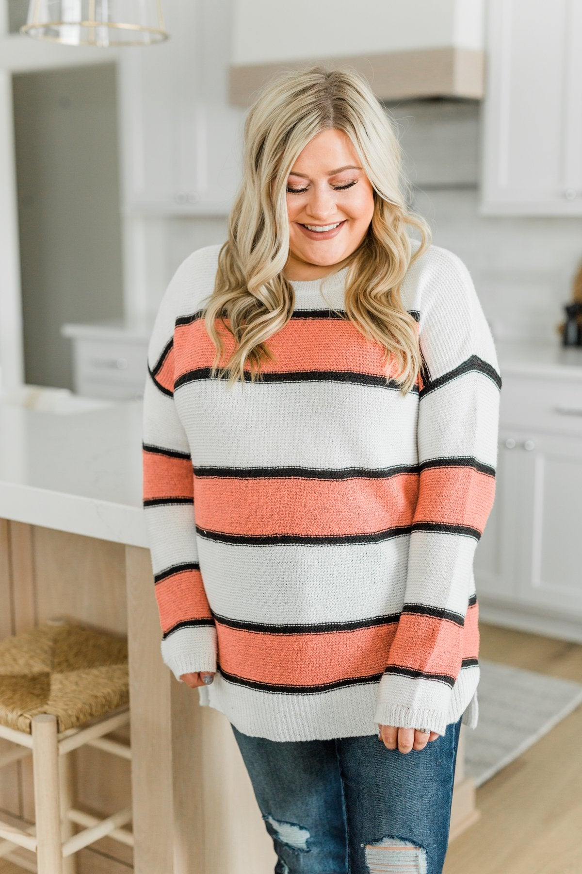 Oh So Soft Striped Knit Sweater- Coral