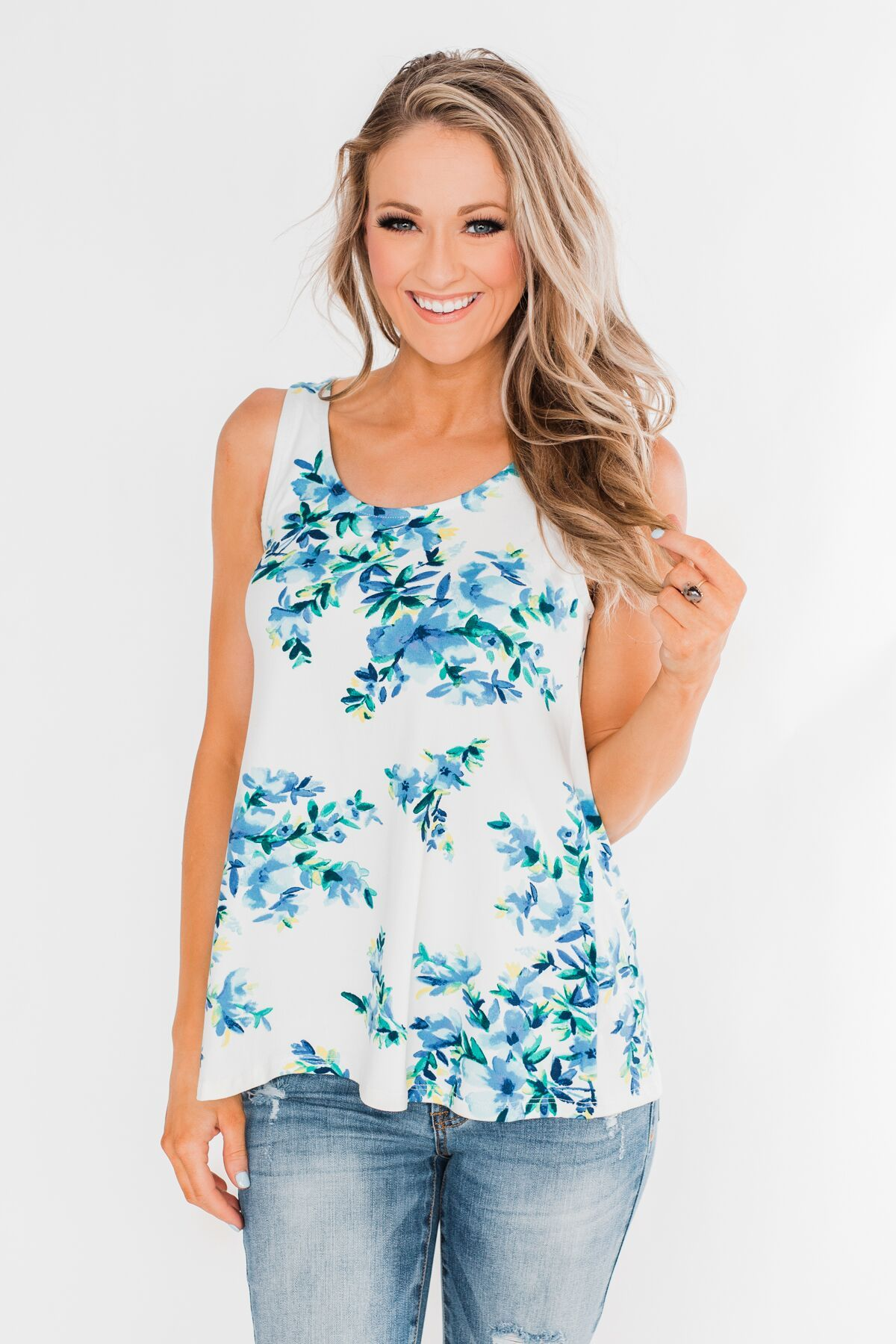 Escape To The Garden Floral Tank Top- Ivory