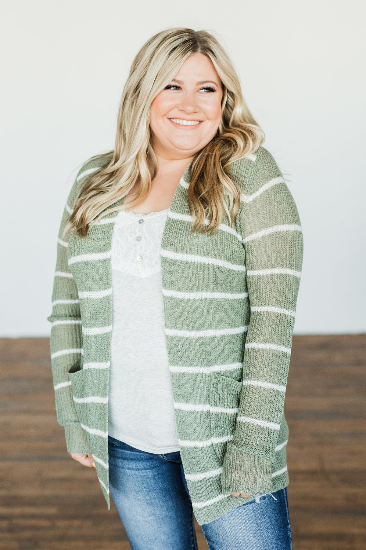 Adventures Awaiting Striped Knit Cardigan- Sage & Ivory