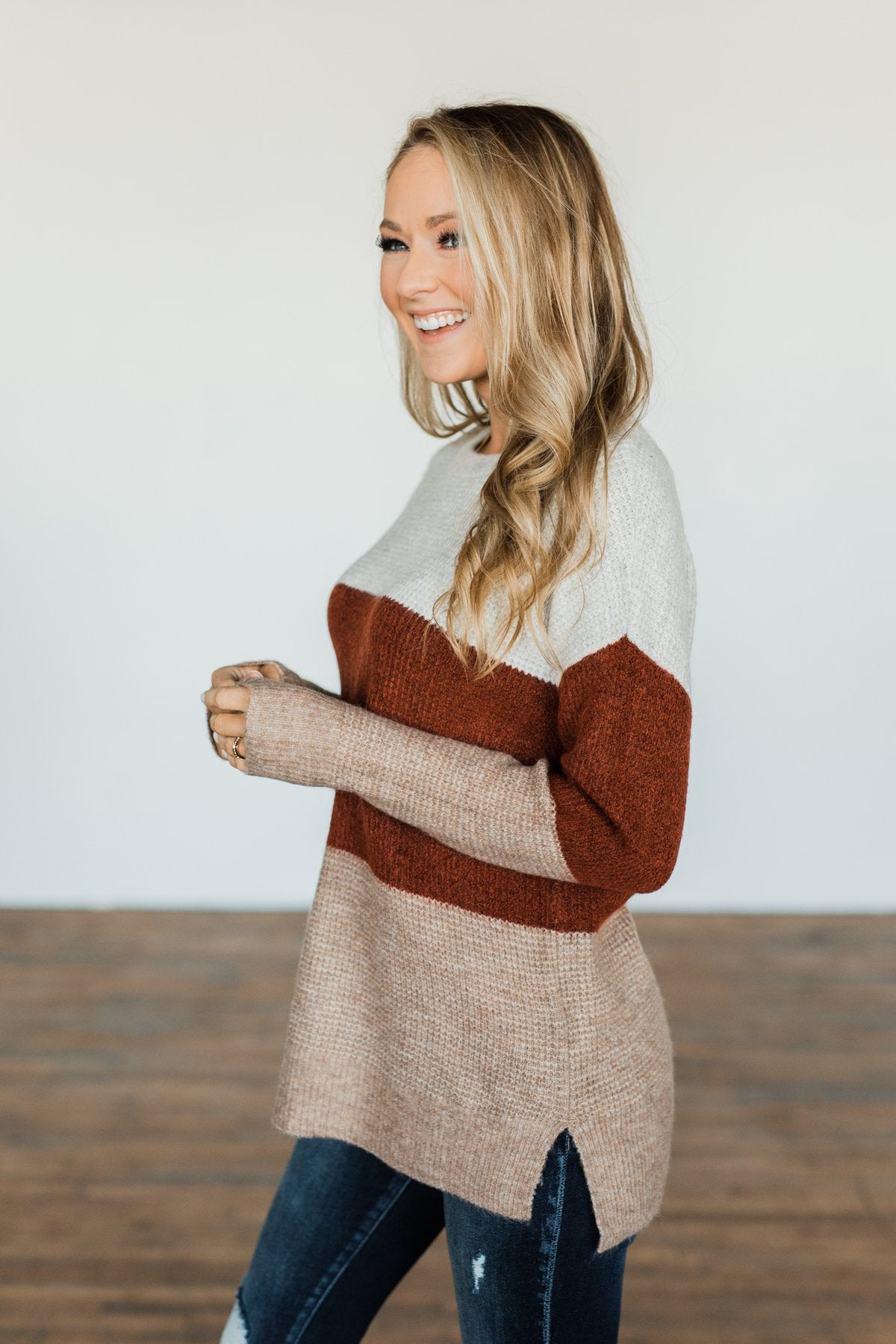All Things Charming Colorblock Sweater- Oatmeal, Rust, Mocha