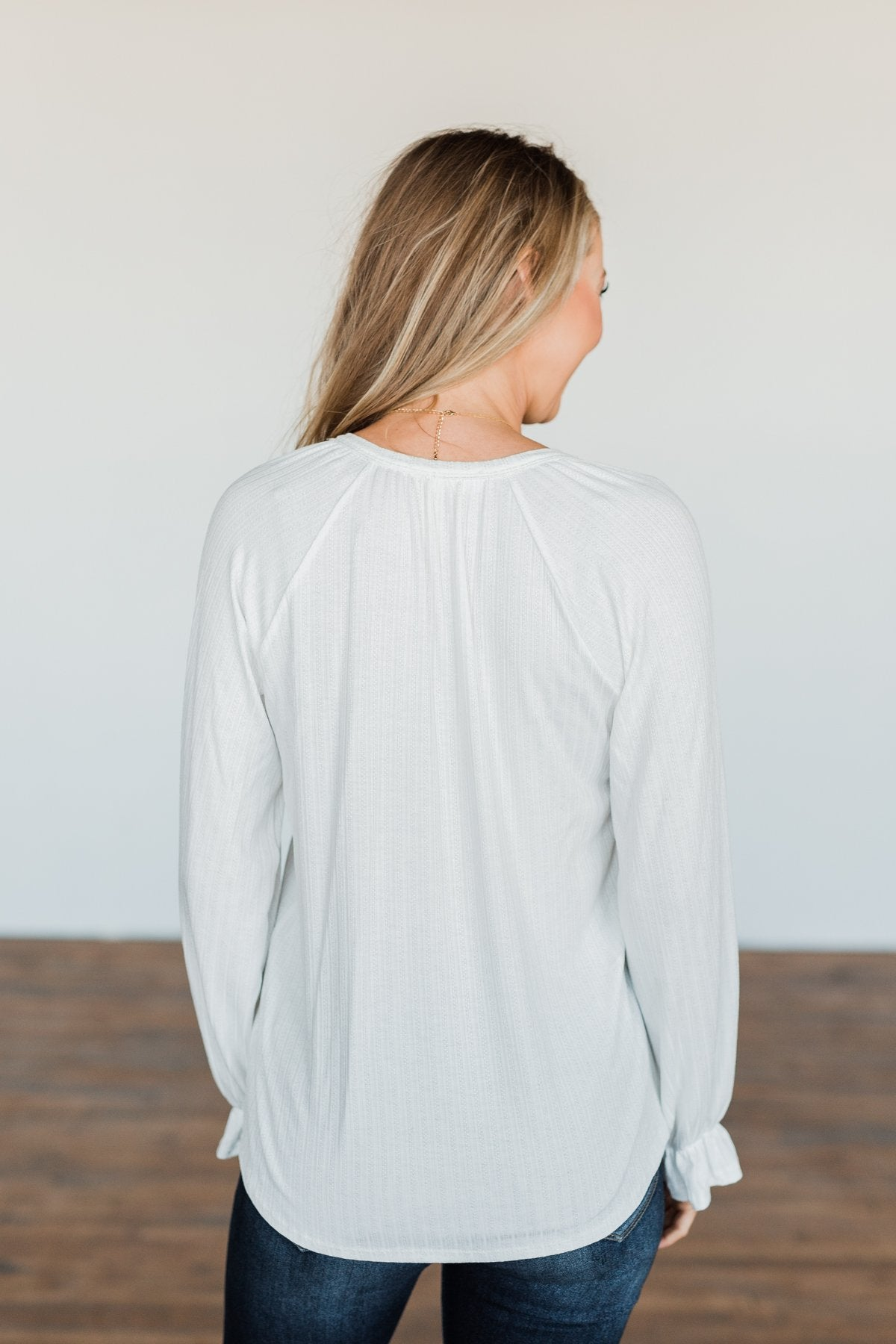 Sail Away With Me Knit Button Top- Ivory