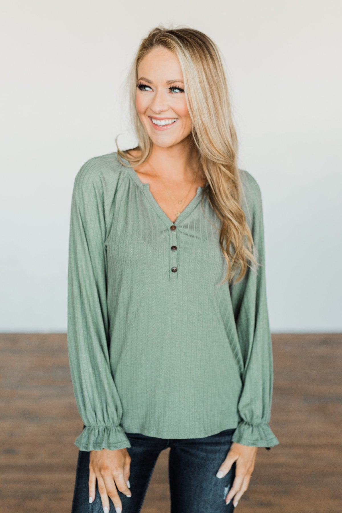 Sail Away With Me Knit Button Top- Sage