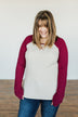 Live Your Life Long Sleeve Raglan Top- Oatmeal & Burgundy