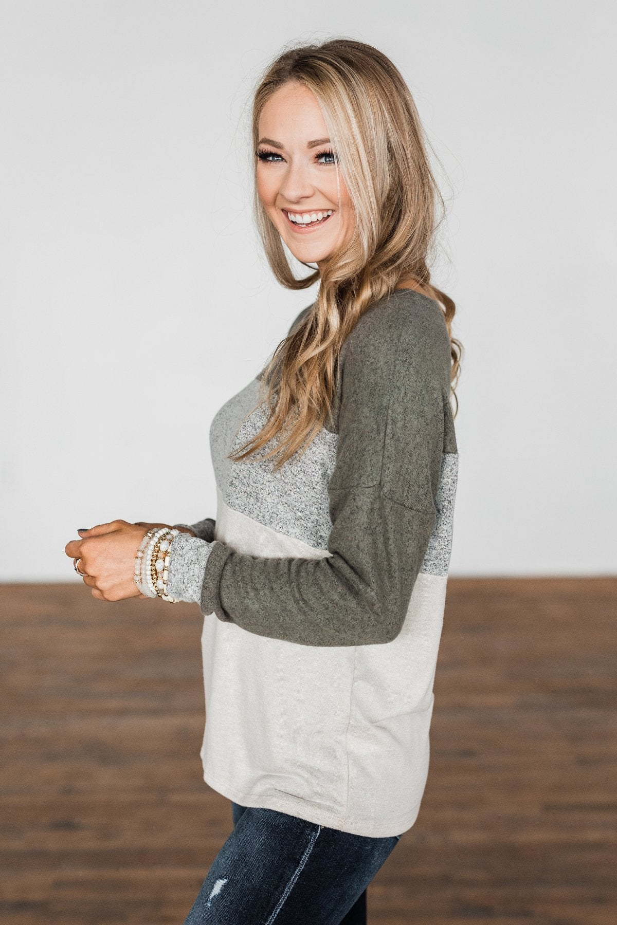 Fall Fever Color Block Top- Olive, Heather Grey, & Cream