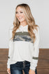 Bad At Goodbyes Colorblock Hoodie- Camo, Olive, Ivory