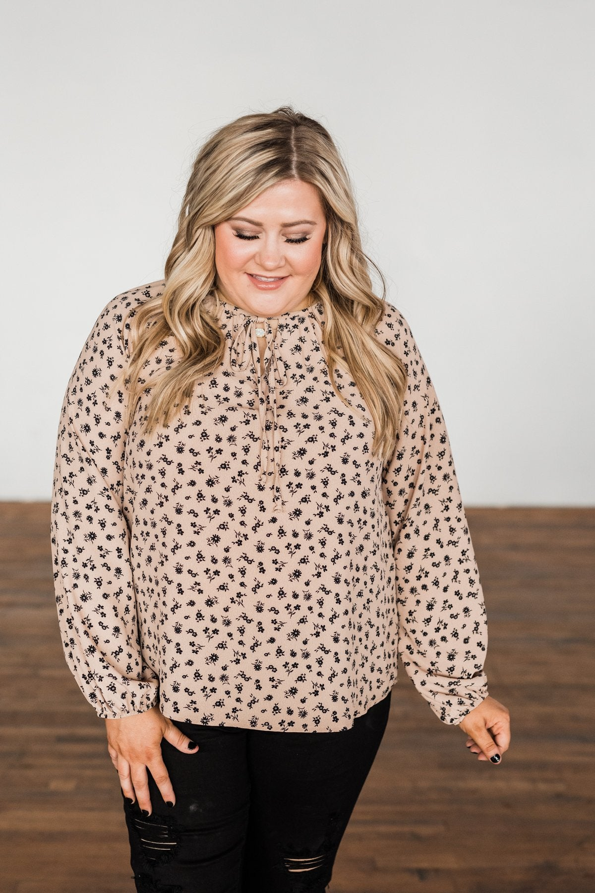 Habits Of My Heart Floral Blouse- Taupe