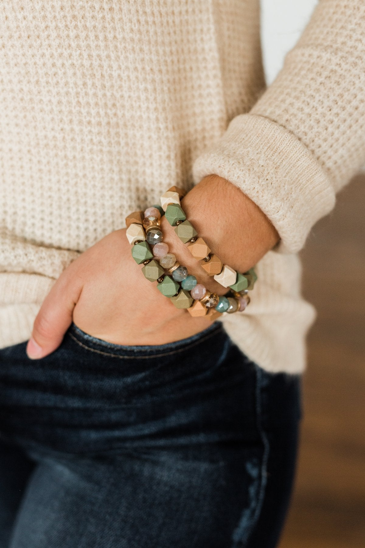 3 Stack Wood Bracelet Set- Olive & Natural Tones