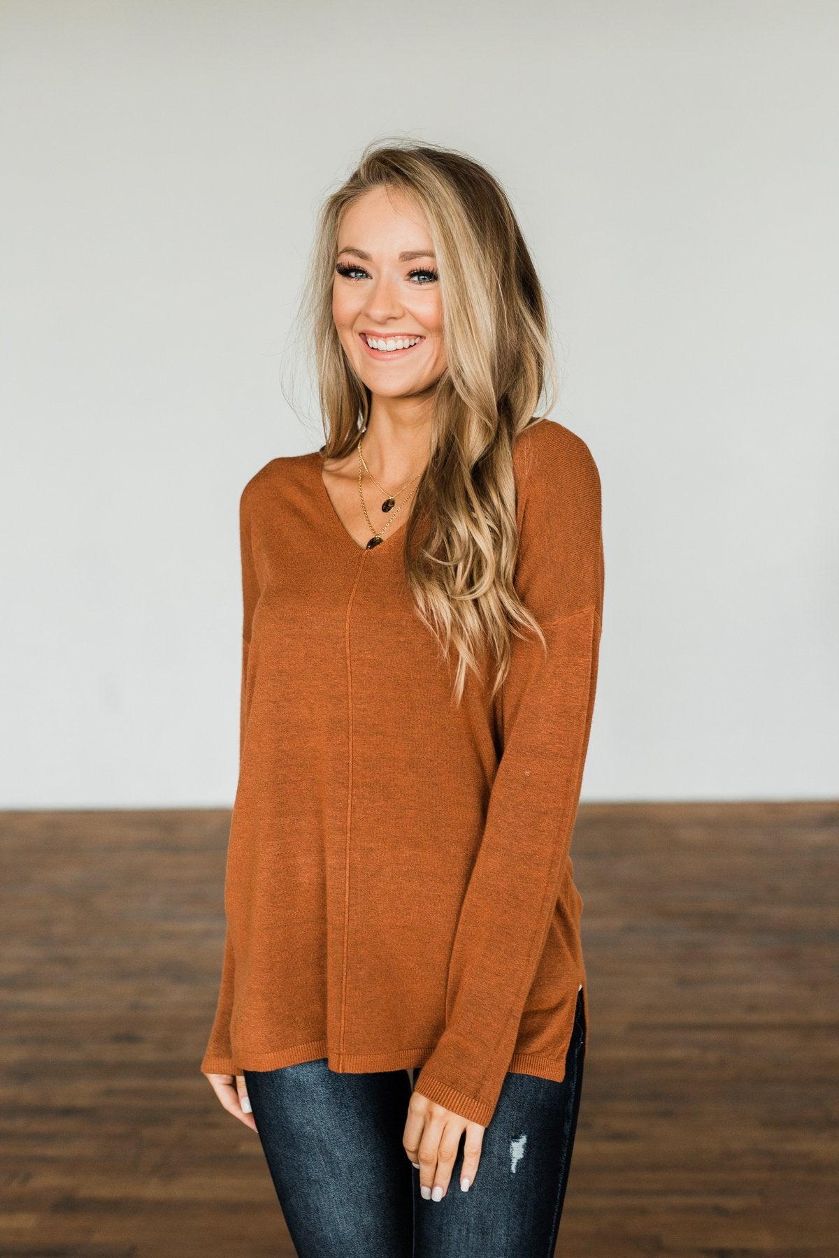 The Best Part V-Neck Sweater- Dark Camel