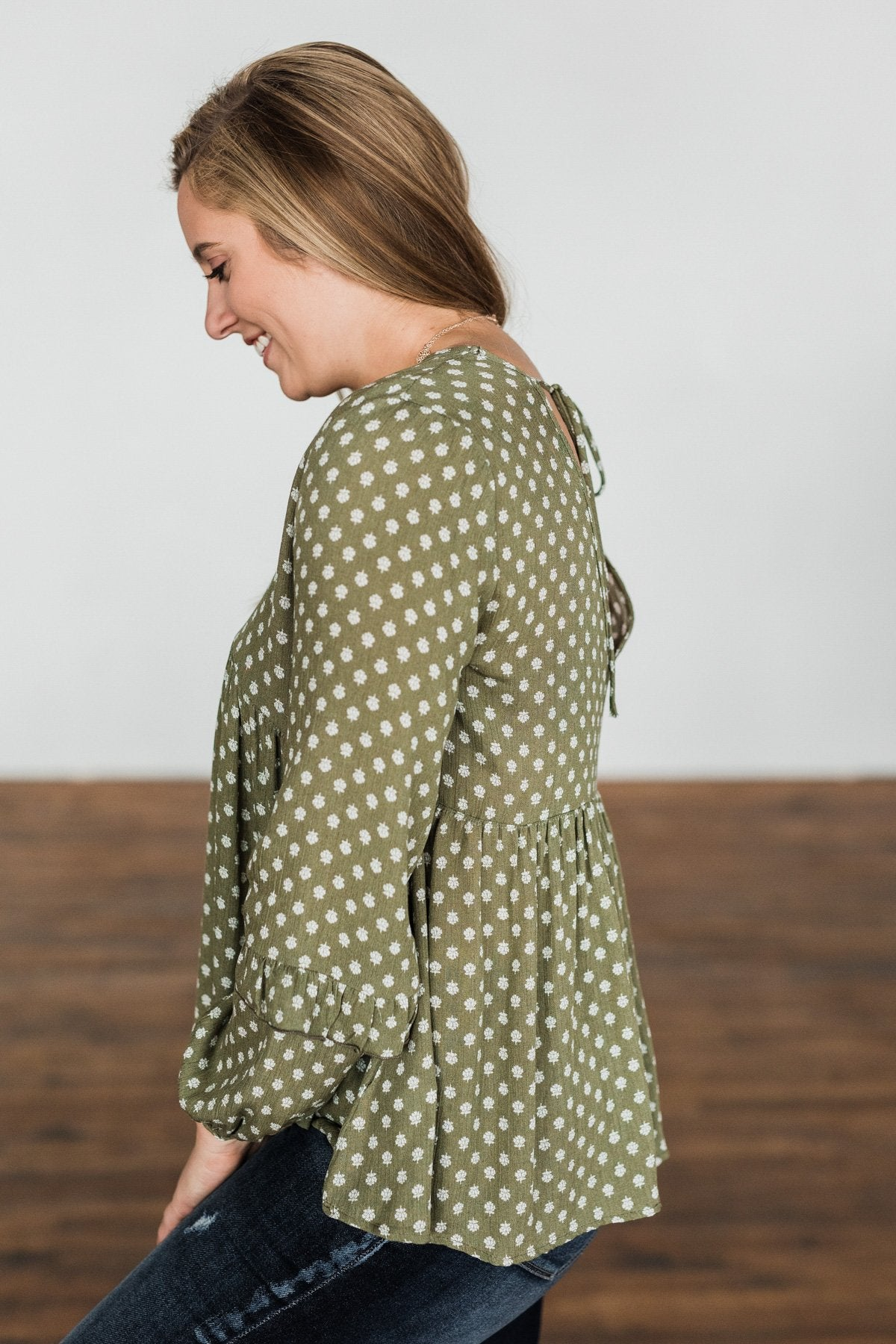 Wander Through The Wildflowers Blouse- Olive