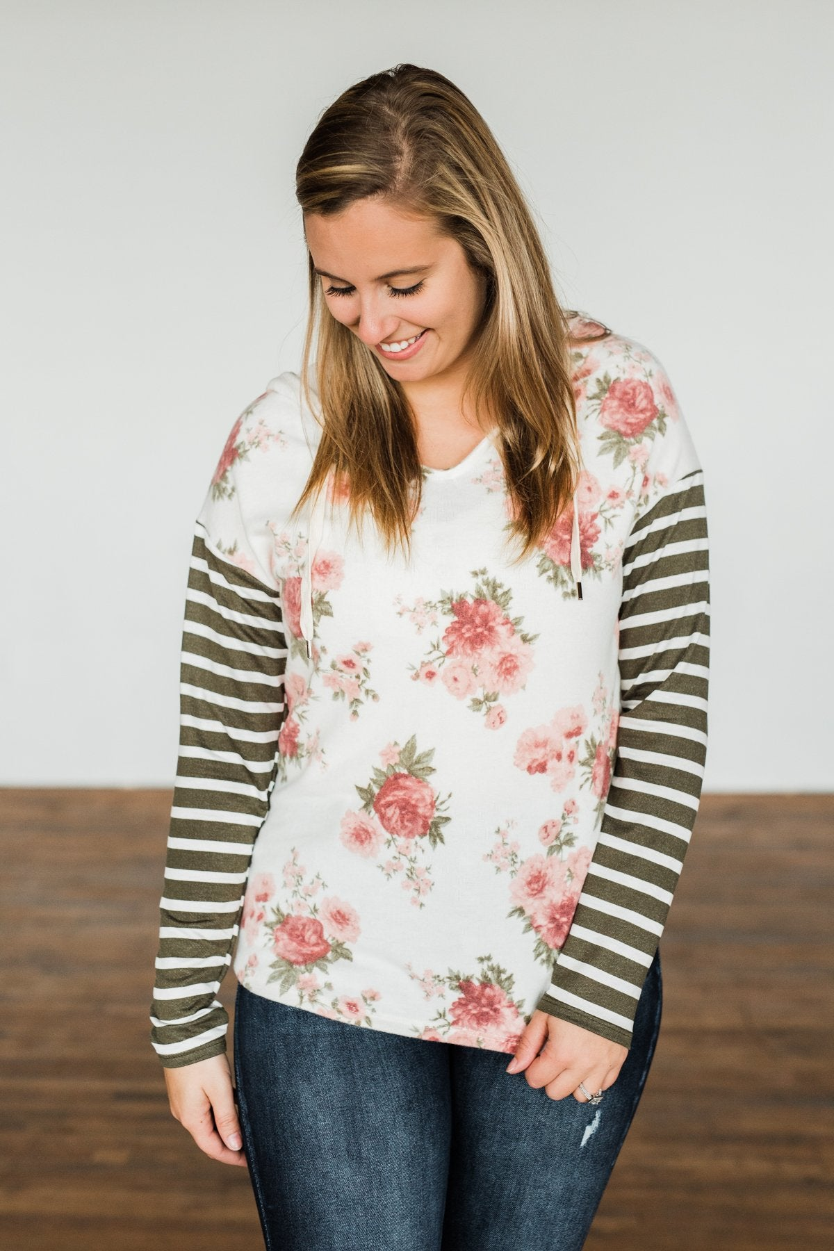 Sweeter Than Honey Floral Stripped Hoodie- Forest Green, Ivory, Mauve