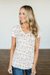 Look To The Sky Floral V-Neck Top- Ivory