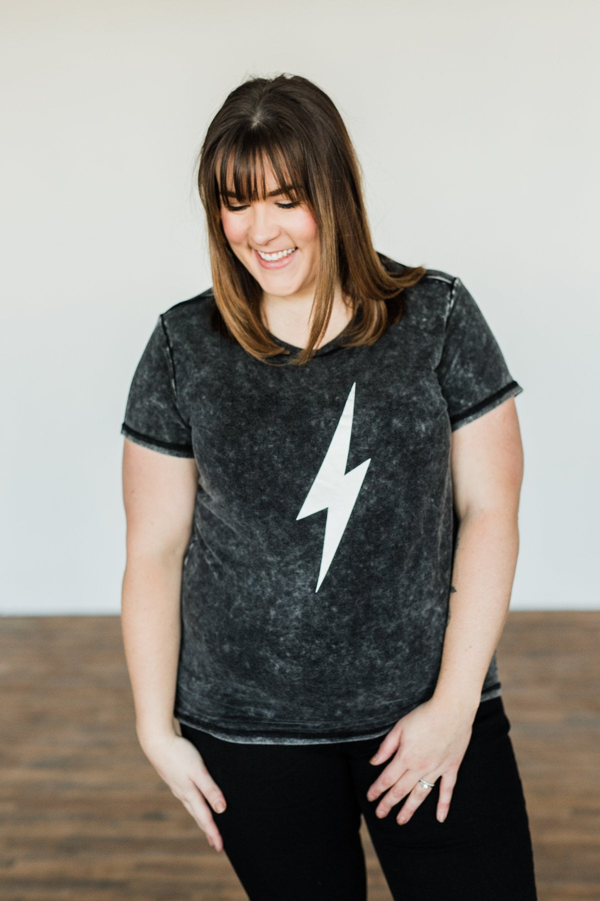 Lightning Bolt Graphic Tee- Charcoal