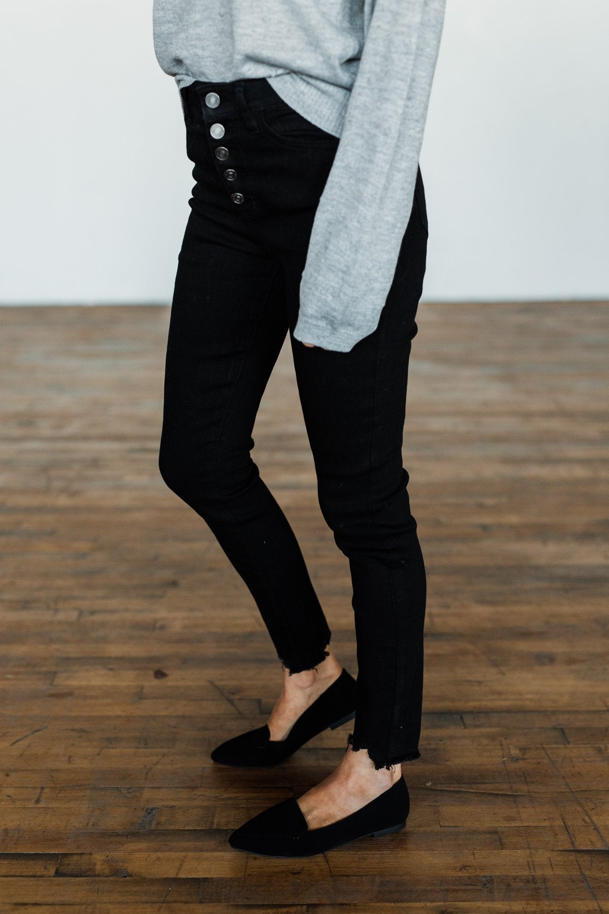 Kancan Button Fly Skinny Jeans Daisy Wash The Pulse Boutique