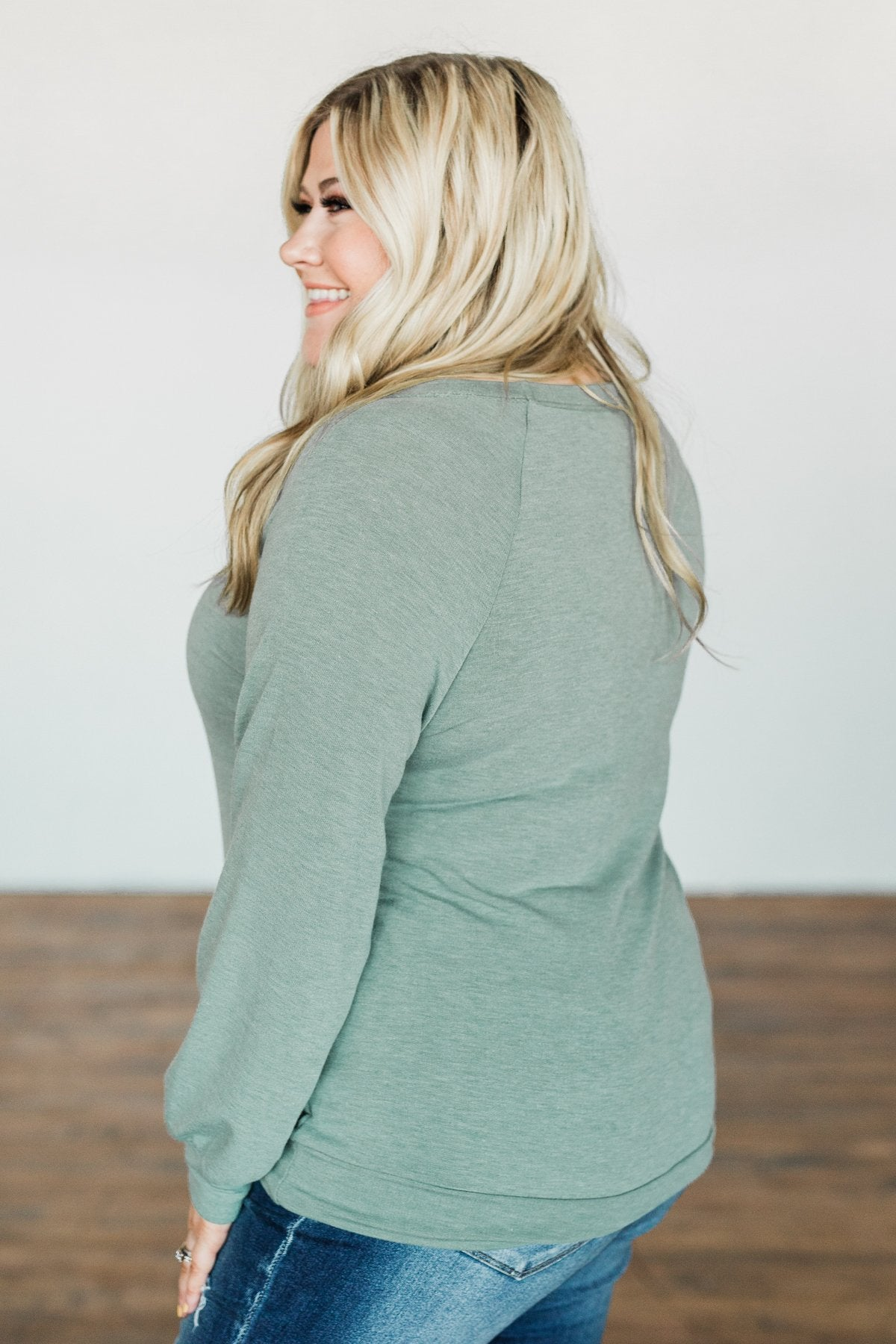 Come Along With Me Pullover Top- Sage