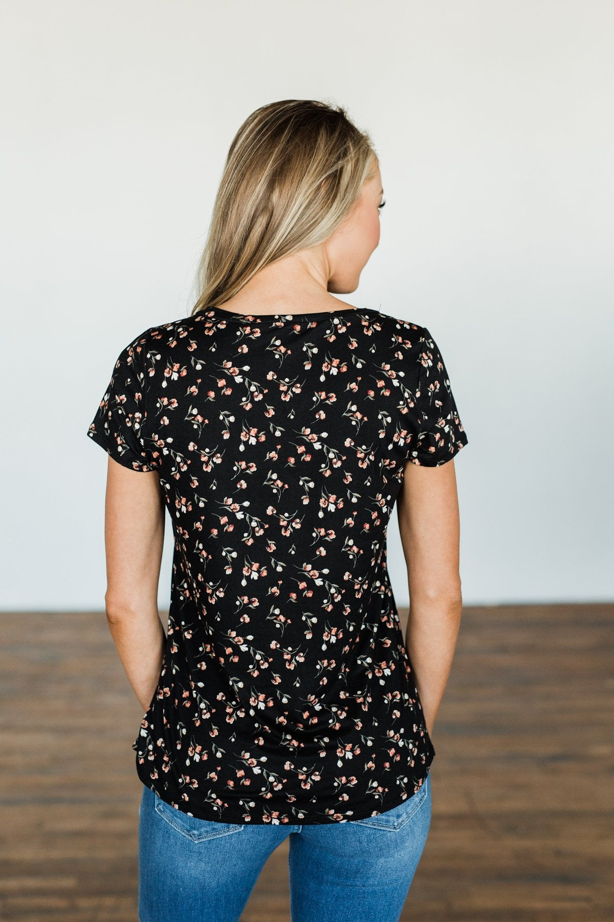 Look To The Sky Floral V-Neck Top- Black