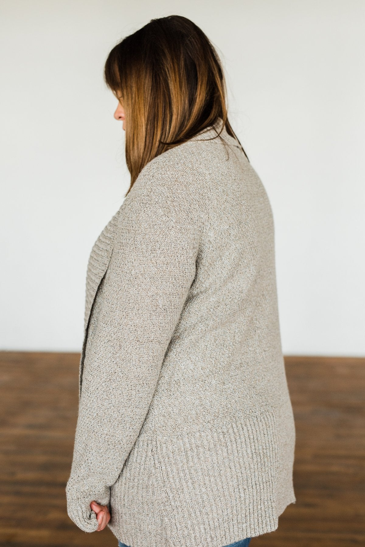 Wish You Well Knit Drape Cardigan- Taupe