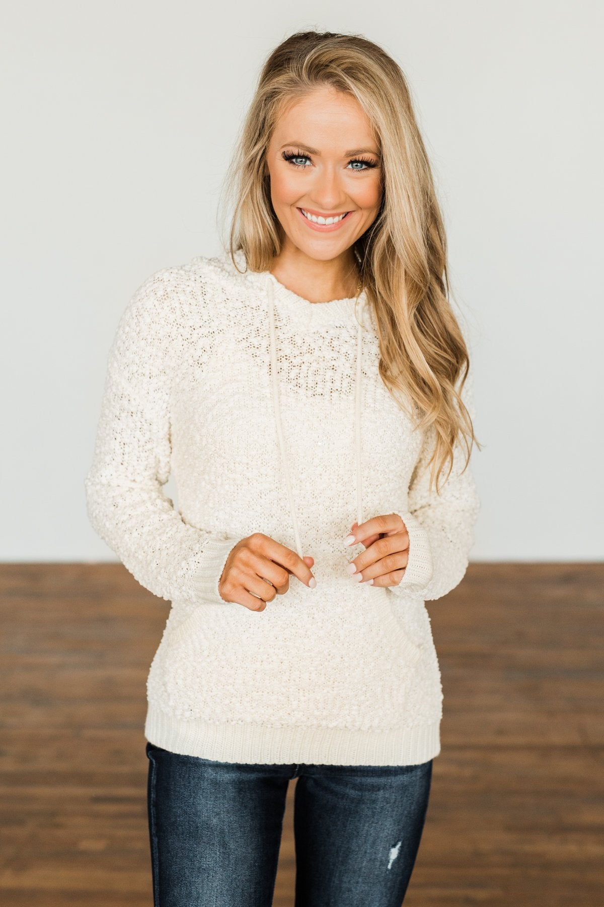 Sweet By Nature Popcorn Knit Hoodie- Cream