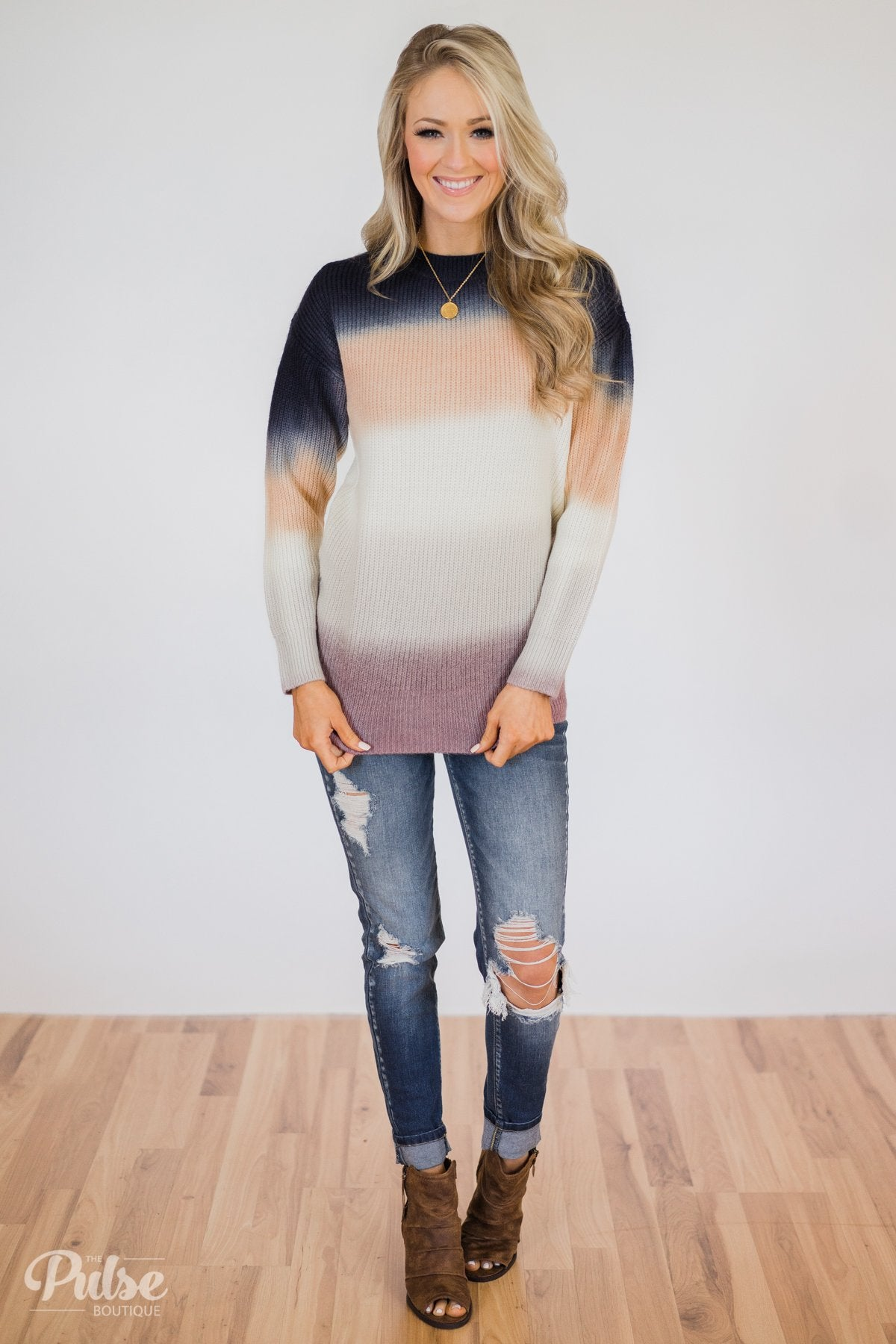 Color Block Knitted Sweater- Multi-Colored