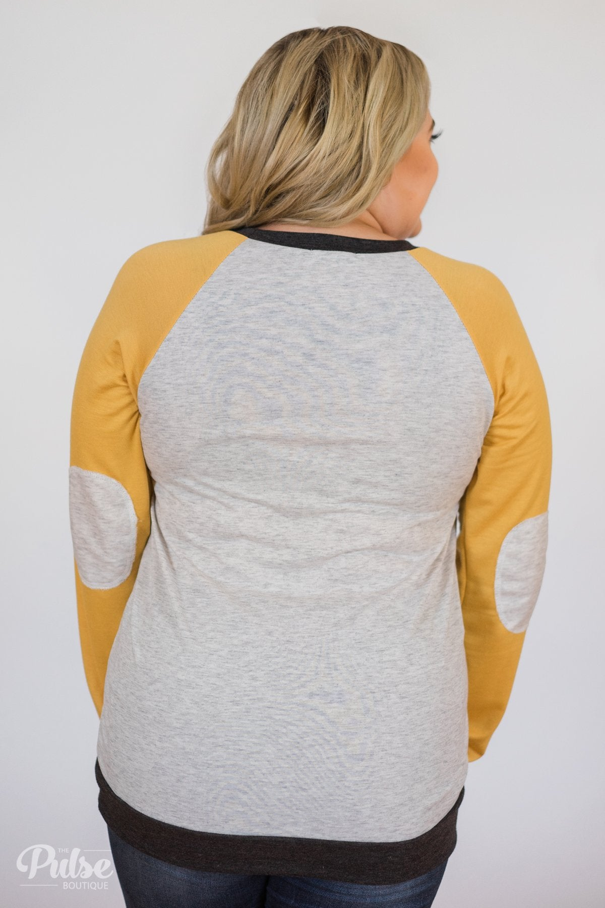 Elbow Patch Color Block Pullover Top- Yellow, Charcoal, Grey