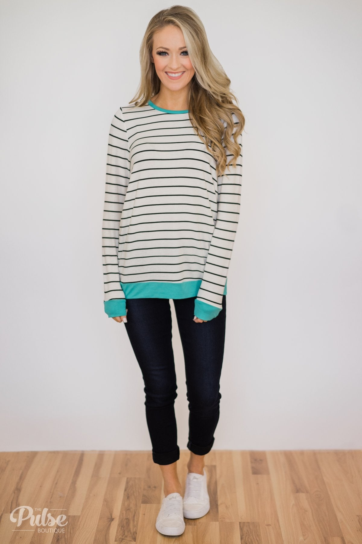 Follow the Beat Striped Top- Turquoise Blue
