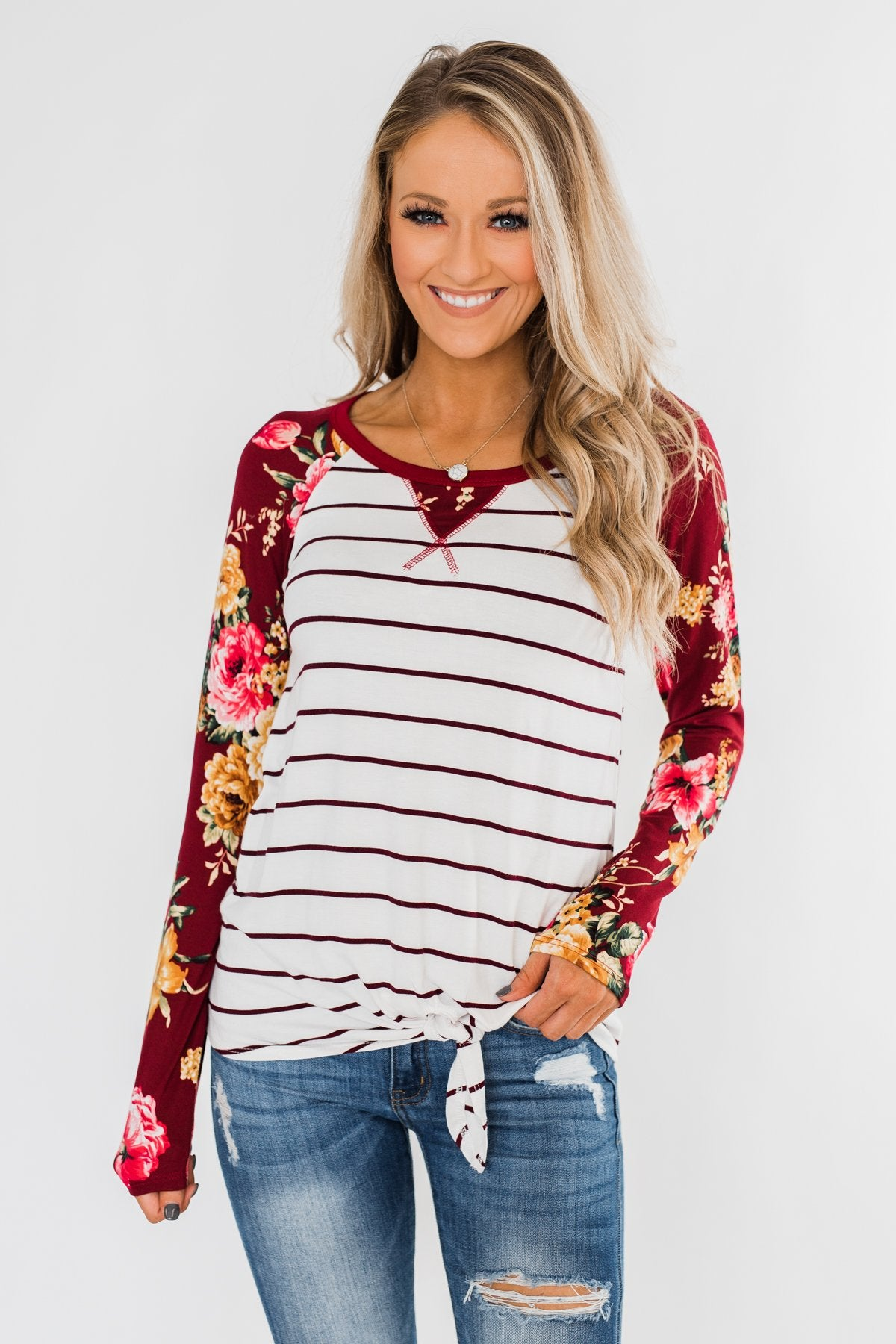The Perfect Day Striped Floral Top- Burgundy & Ivory
