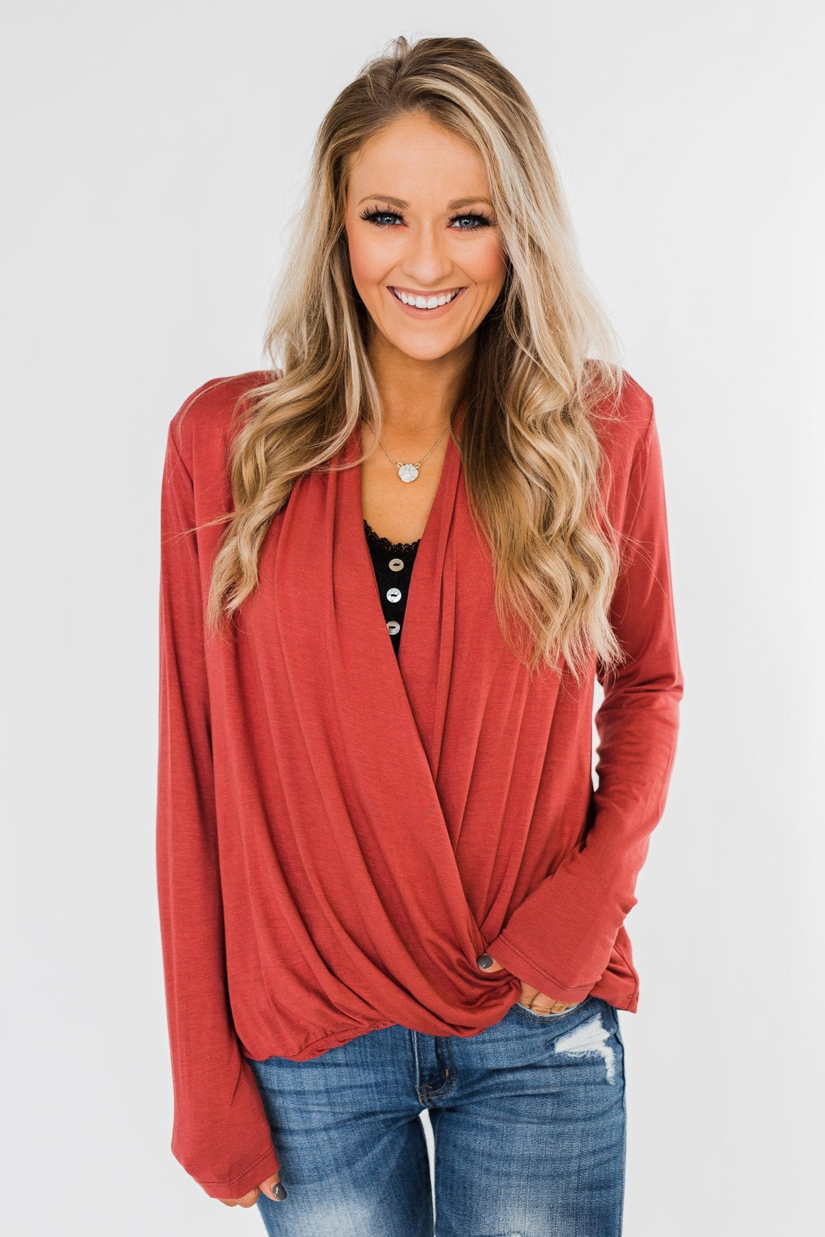 Can't Help This Feeling Front Wrap Top- Rusty Mauve