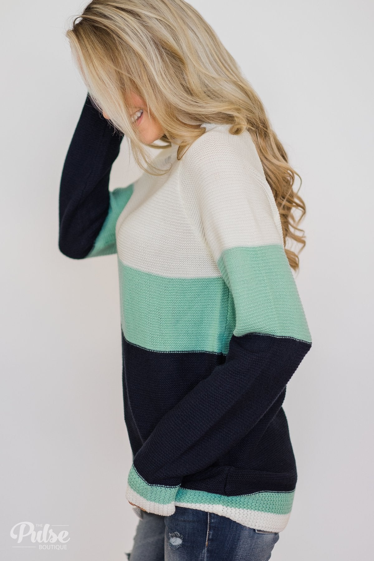 Close to You Knitted Color Block Sweater- Ivory, Mint, Navy