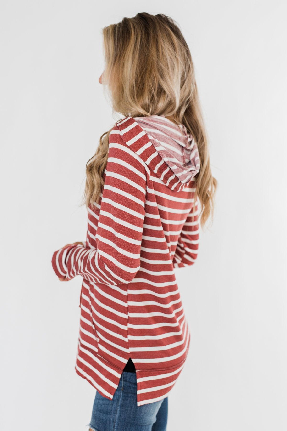 A Sure Thing Striped Tunic Hoodie- Rust & Ivory