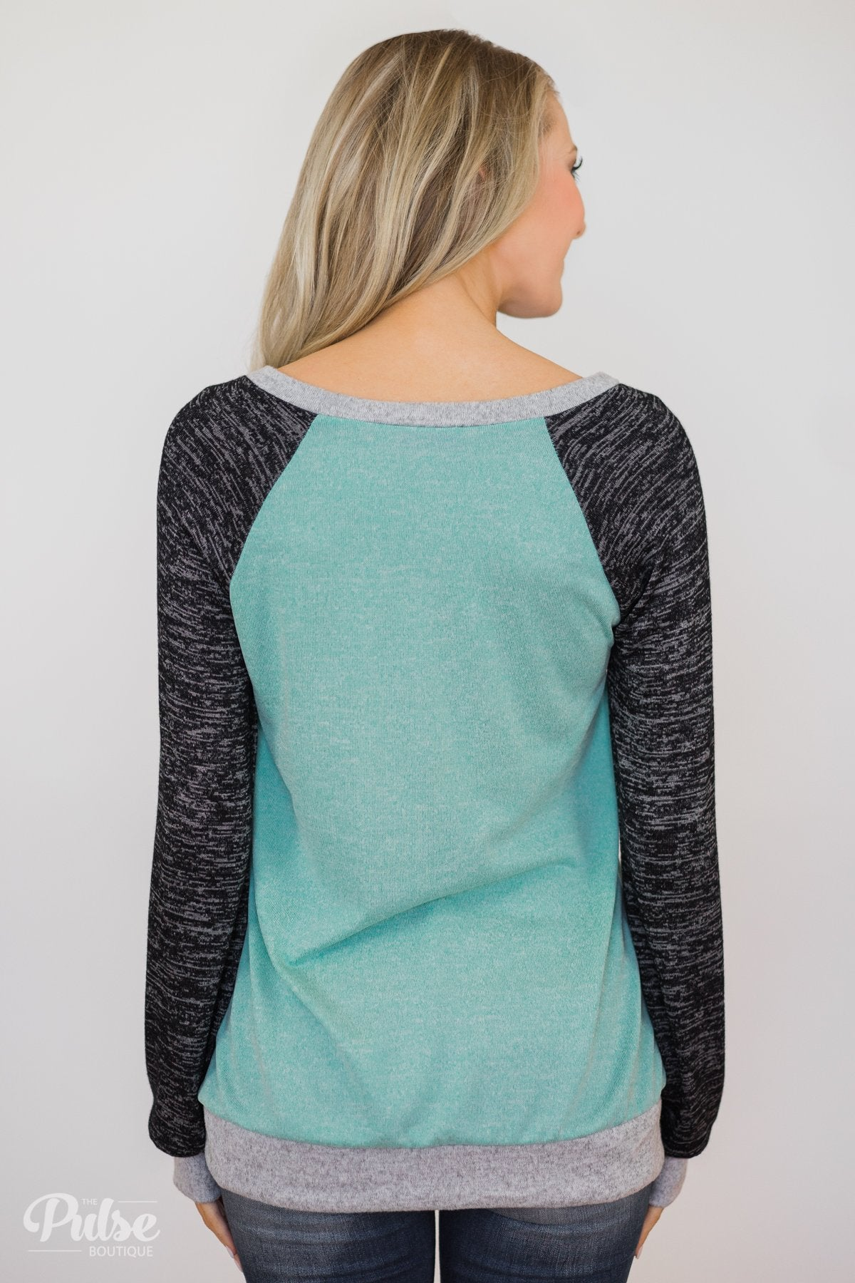 Don't Hesitate Long Sleeve Top- Light Blue