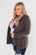 Carried Away Drawstring Waist Jacket- Charcoal