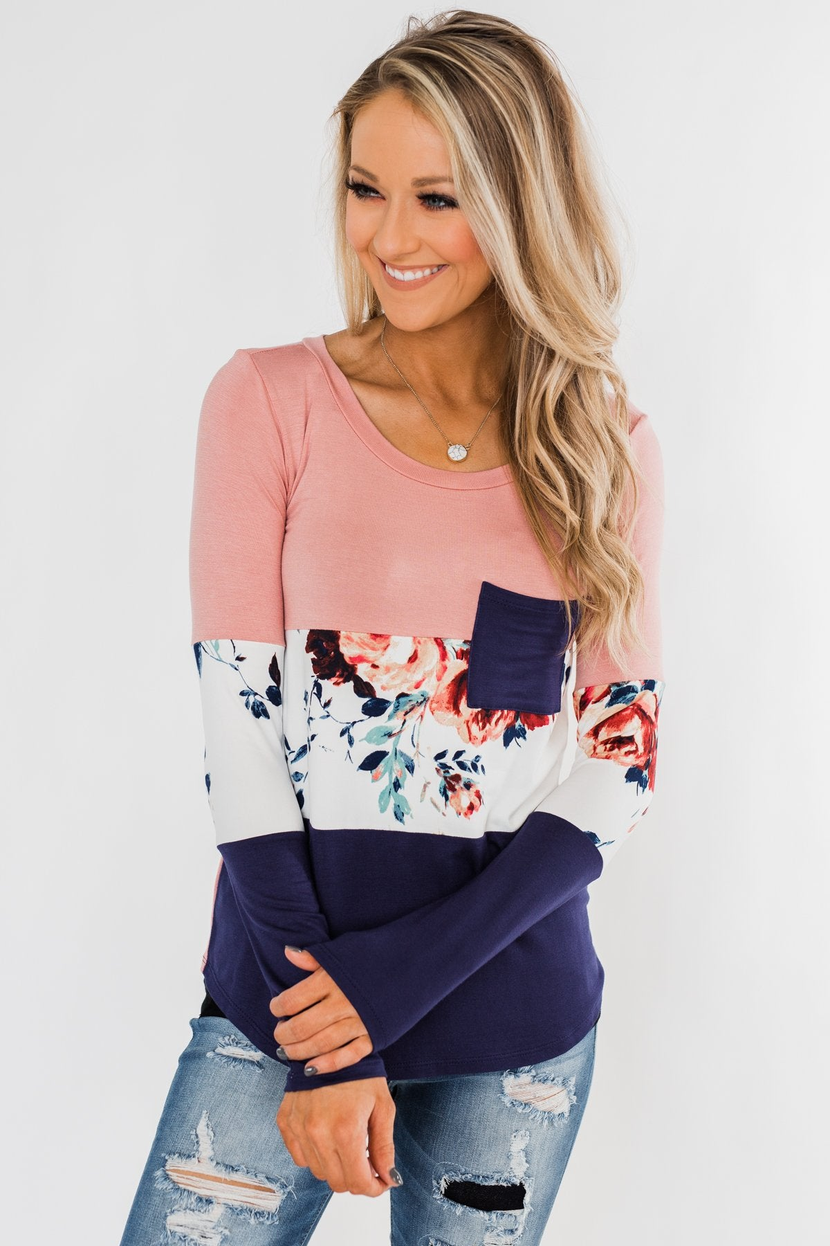 The Time Is Now Long Sleeve Floral top- Blush & Navy