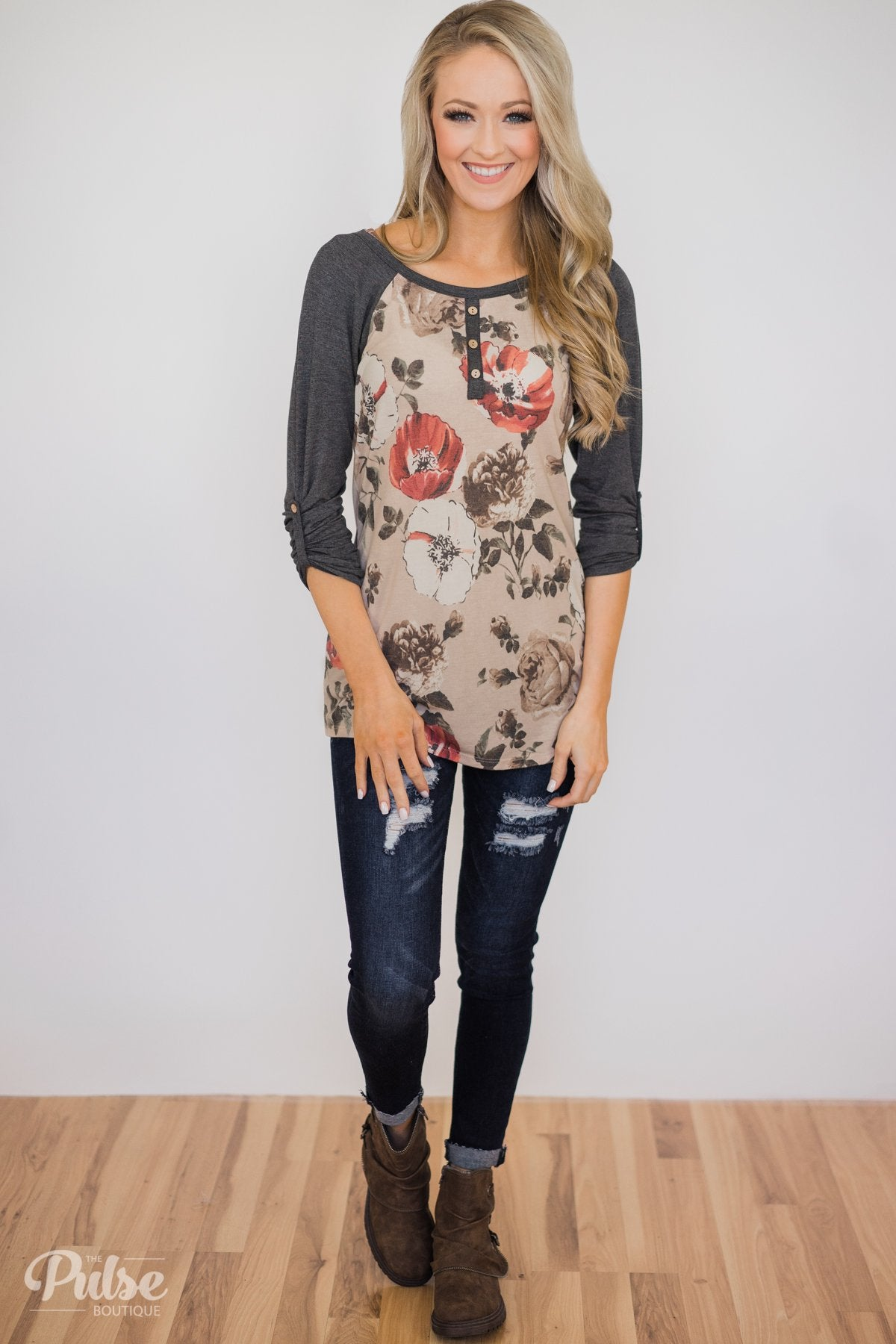 Ahead of the Game Floral Baseball Top- Beige & Charcoal