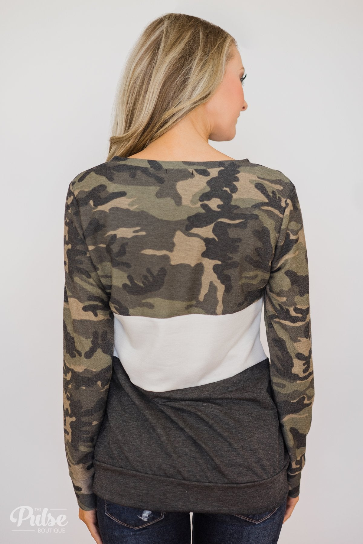 Camo Color Block Pullover Top