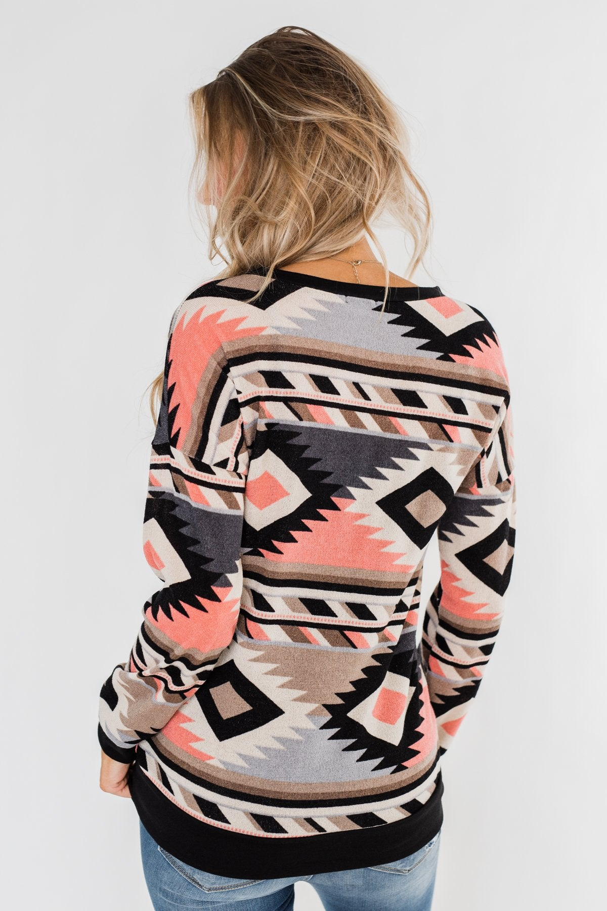 By The Bonfire Aztec Sweater- Black & Cream