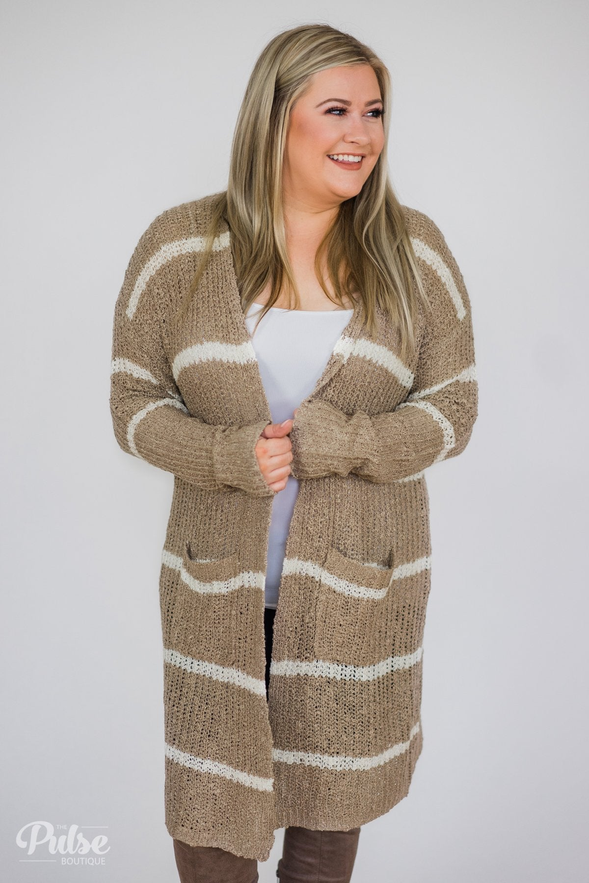 Long Knitted Striped Cardigan- Taupe & Ivory