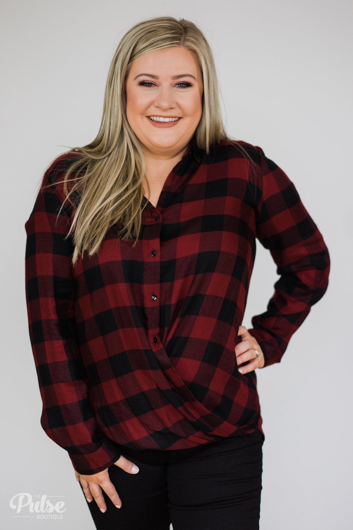 Knot Your Type Buffalo Plaid Top- Deep Red
