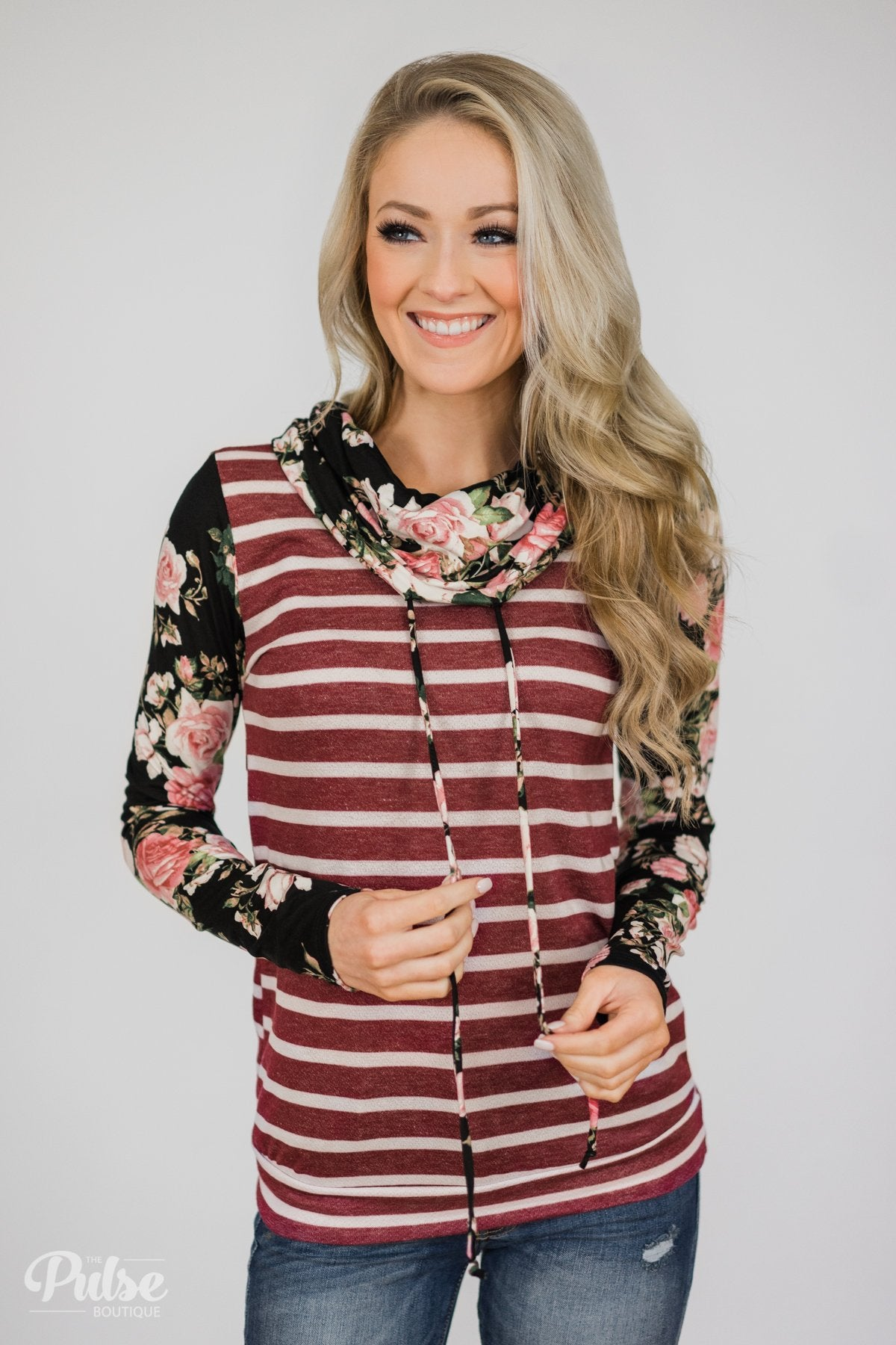 dc131e57be06 Pure Beauty Floral & Striped Cowl Neck Top- Black & Burgundy