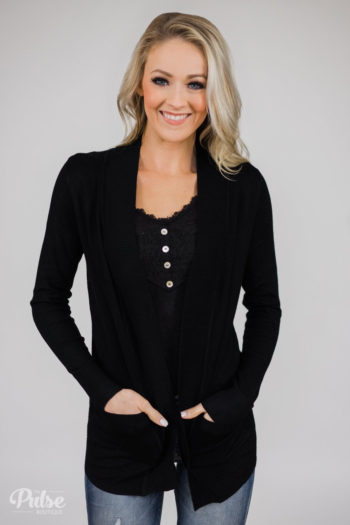 As Easy As Can Be Cardigan- Black