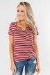 This is Me Striped Notch Pocket Top- Brick Red & Ivory