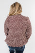 Must Be Love Floral Cinched Blouse- Clay Brown