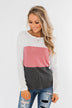 Away We Go Color Block Waffle Knit Top- Pink & Charcoal