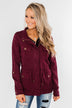 Carried Away Drawstring Waist Jacket- Wine
