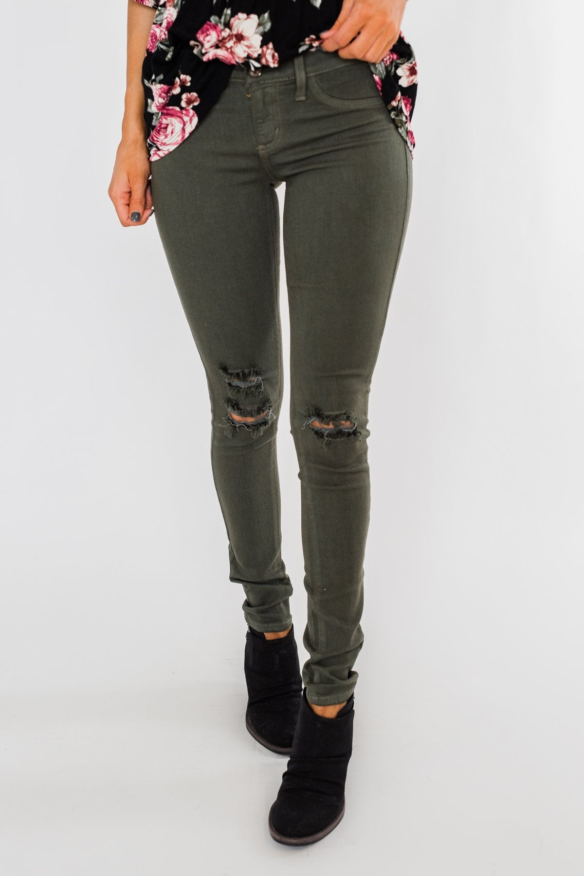 Kan Can Jeans- Knee Distressed Army Green