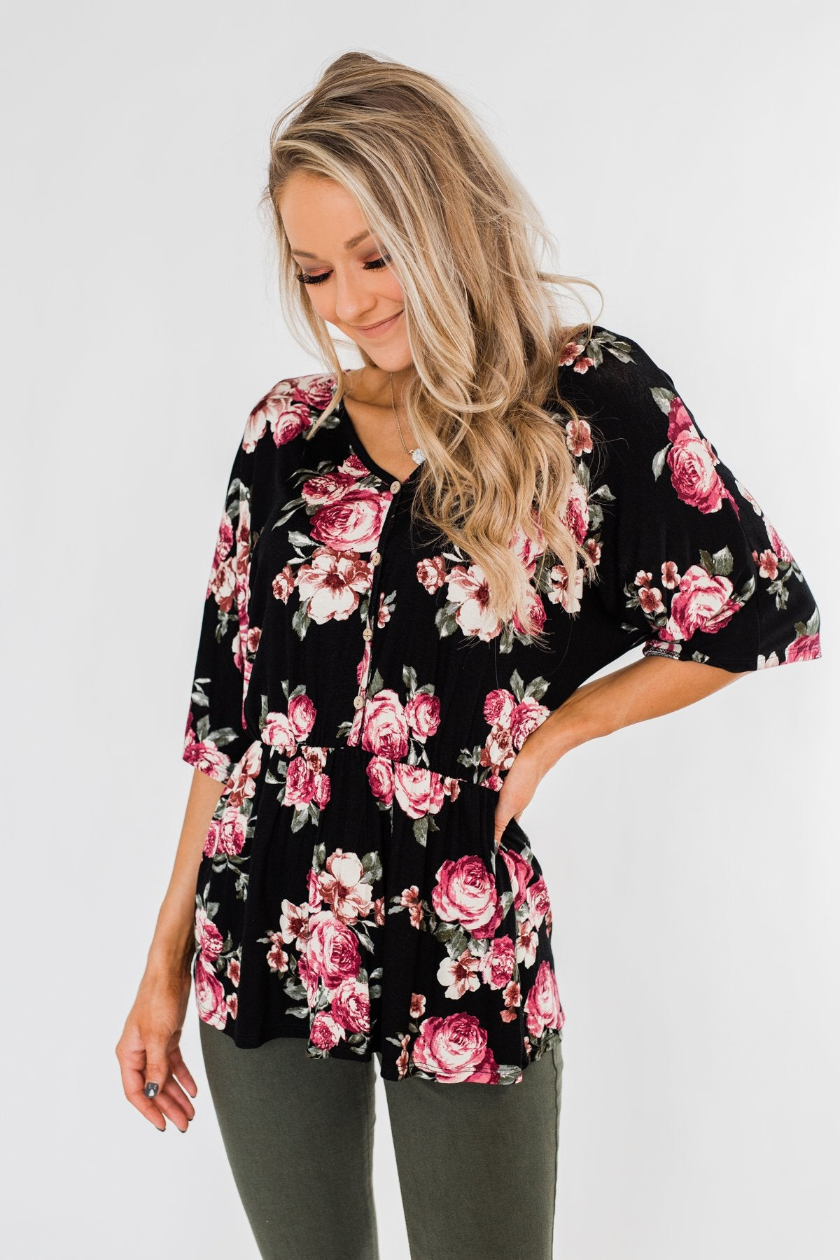 The Way To My Heart Floral Button Top- Black