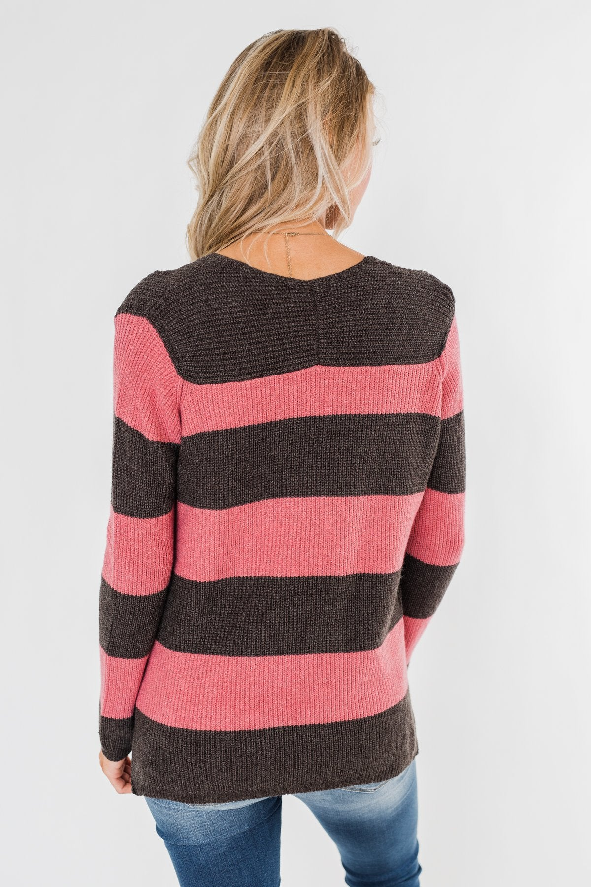 Striped Knit Sweater- Pink & Charcoal