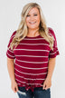 Shine The Way You Do Striped Top- Burgundy