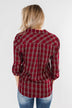 Ready For The Season Plaid Top- Cranberry