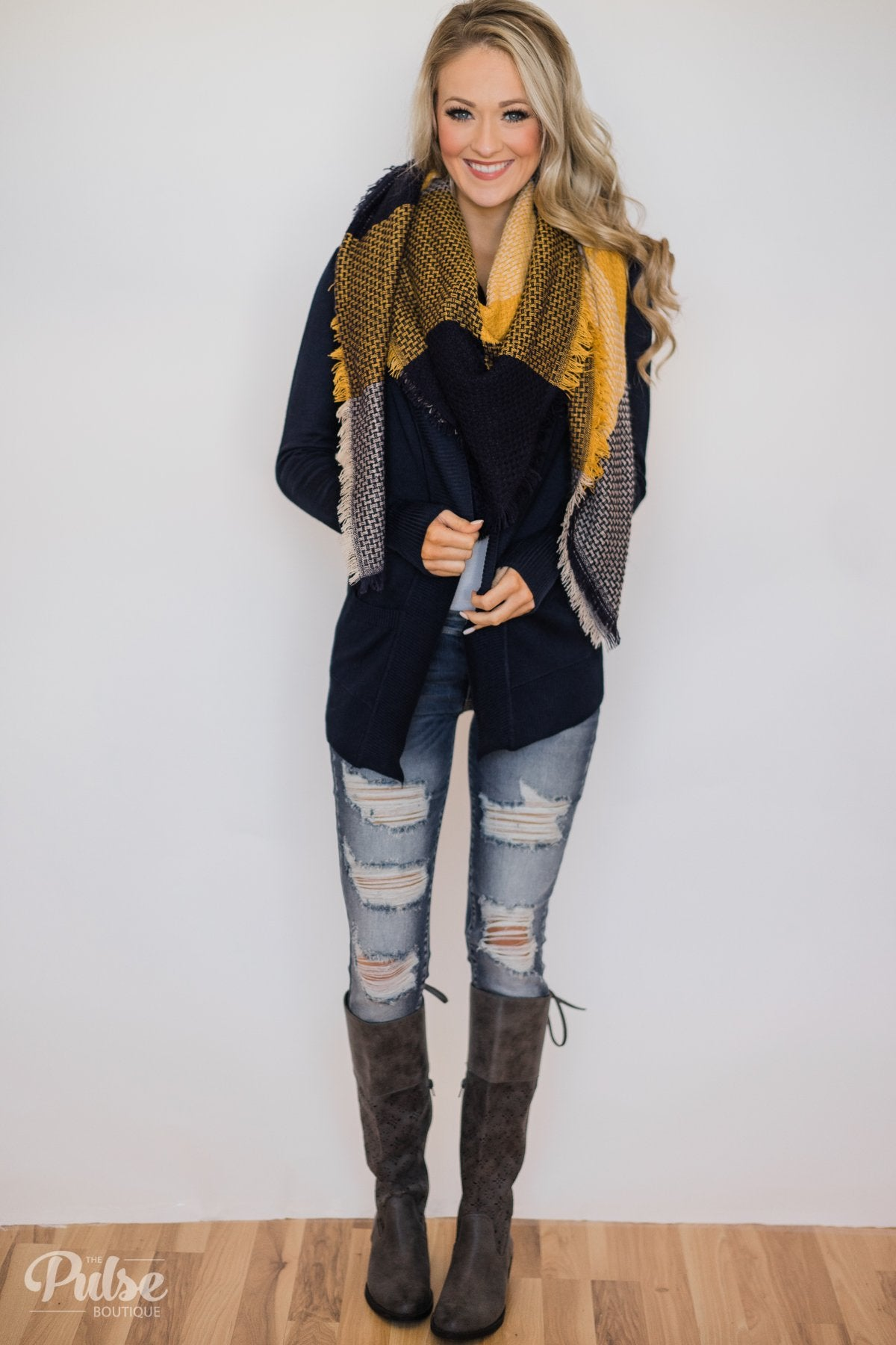 As Easy As Can Be Cardigan- Navy